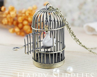 Last --LARGE High Quality Bird Cage Pendant (GG0012C)--Clearance Sale