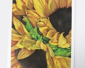 sunflower art print, flower watercolor, botanical painting, yellow flowers wall art, floral decor