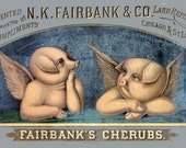 antique victorian advertisement pig lard refiner cherubs angels digital download illustration