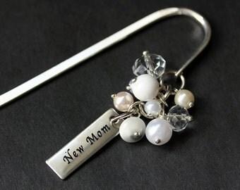 Beaded Bookmark. New Mother Bookmark. Baby Shower Gift Bookmark. New Baby Book Charm. Book Hook Bookmark. Handmade Bookmark.