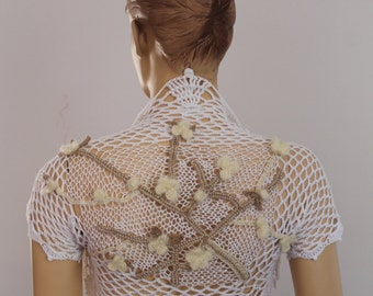 Blossoming Branch -  Crochet Cotton Wedding Art Shrug - Bolero - Luxury - OOAK - Size S/M