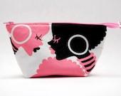 Pink and Black African Queen Wide Open Zipper Pouch/Makeup Bag