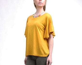 Ruffle Sleeve Top, Flutter Sleeve Tshirt, Loose Top, Drop Shoulder Tshirt, Jersey Top, Ruffle Top, Summer Top / Handmade Top - Mustard