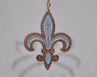 Vintage Fleur de Lis French Blue Enamel and Brass Charm Pendant