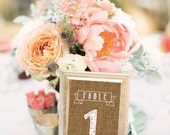Burlap Table Numbers Printable 4x6 PDF Instant Download Rustic Shabby Chic Woodland Numbers 1-30