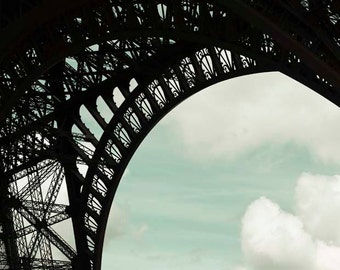 Eiffel Tower Print, Architecture, Blue, Black, White, Travel Photography, Abstract, Neutral, Paris Wall Decor