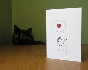 Cute dog says woof, I love you! Funny card for dog lover. Blank inside for any occasion.
