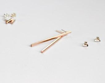 Rose Gold Long Bar Earrings - Dangle Stud Earings - Pink Gold Square Lines - Pastel Pink Ear Bar - by Hook & Matter