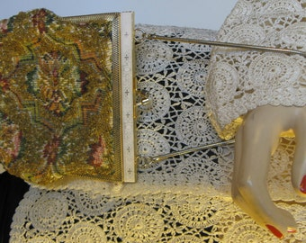 Vintage 60s Small Hand-Beaded Brocade Tapestry Purse with  Gold-Embossed White Frame