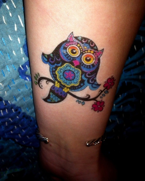 Colorful Owl Temporary Tattoo Body Art By Tarren On Etsy