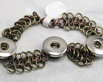 Champagne and Chocolate 4 in 1  Chainmaille Popper/Chunk/Snap Bracelet