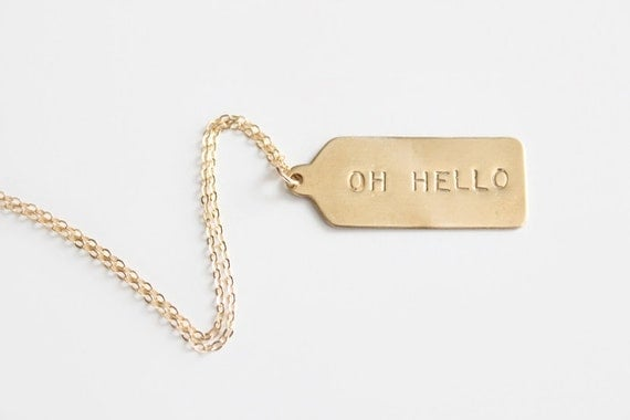 Hand Stamped Necklace - Rectangle Tag - Oh Hello