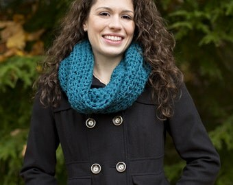 Neckwarmer Infinity Scarf in TEAL, Cowl Circle Thermal Wrap, GIFT Fall Winter Outwear Scarf Scarves, Cowl Scarf Wrap Available more Colors