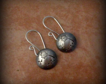 Dandelion earrings, sterling silver dandelion earrings, artisan earrings