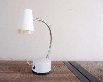 Mid Century White Goose Neck Desk Lamp
