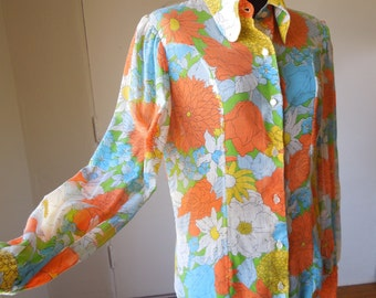 Vintage 70s Shirt, Sheer Button Up Blouse, Colorful Floral Print, Long Sleeve, Yellow, Orange, Lime Green, Sky Blue and White, Size Medium