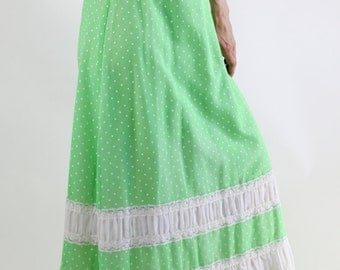 Vintage 70s Bright Green with White Polka Dots Maxi Skirt. FREE SHIPPING