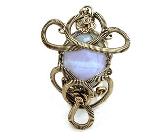 Blue Agate Pendant, Silver Pendant, Wire Wrapped Pendant, Gemstone Pendant, Blue Stone Pendant, Blue Agate Necklace, Victorian Pendant