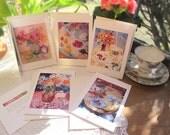 5 Blank Greeting Cards, Tea Lovers 5x7 Spring Tea