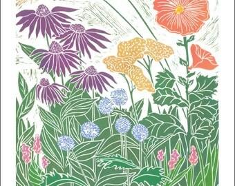 Card & Poster Midsummer Garden, Garden Plants, Garden Flowers, Full Bloom Garden, decorate, wall art.  SKU#73