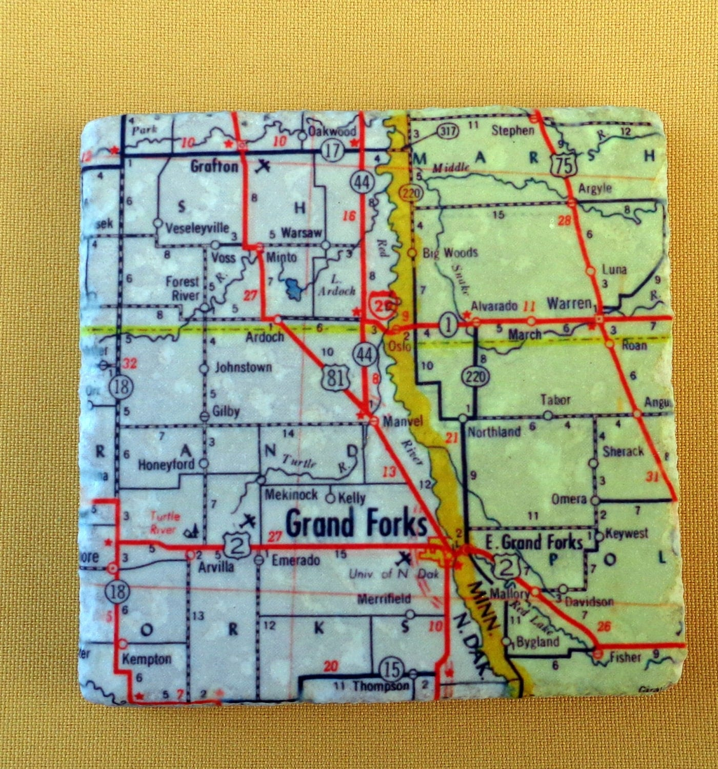 Coasters Maps Of North Dakota Amp Minnesota