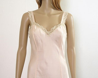 Vintage 1960s Olga Full Slip Peach and Ecru Beige Lace Curvy Lingerie / Small