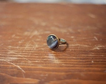 Black Cat's Eye Ring Black Glass Ring Black Ring Round Black Ring Round Cat's Eye Ring