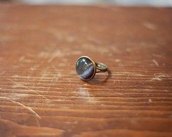Handmade Black Cat's Eye Ring Black Glass Ring Black Ring