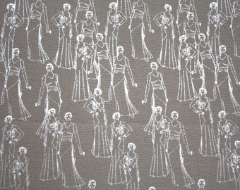 Vintage 1950's Fabric // 50s Tan Chiffon Fabric with 1920's Glamour Girls // By The Yard // NOS Sewing Supply