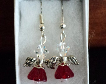 Angel Earrings, Dangle Earrings, Red and White, Christmas Earrings, Holiday Earrings, Angelic Earrings, Swarvoski Crystal, Glass Beads