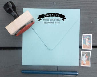 Fun and Modern Calligraphy Banner Return Address Stamp | Wooden Stamp with Handle OR Self-Inking Stamp | Lucky in Love Rubber Wedding Stamp