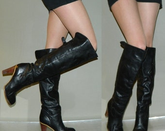 vintage 80s black boots size 6 tall and SEXY