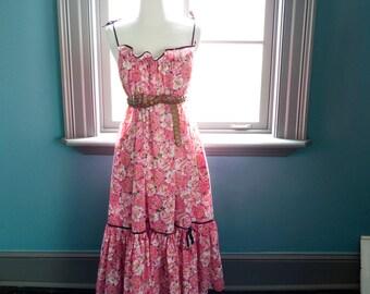 Vintage Clovis Ruffin summer MAXI tent DRESS / floral rose print / garden sundress / beach vacation resort