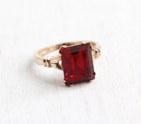 Vintage 10k R G P Simulated Ruby Ring 1940s Size 5 Art Deco
