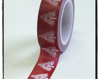 SALE White Christmas Tree on Red Washi Tape Full Roll 10.5yards WT502
