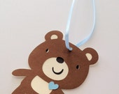 Brown Bear Favor Tags with Ribbon - 12 - light blue heart bear collection