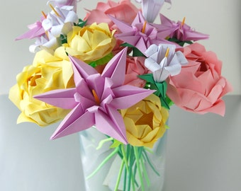Bouquet of Roses, Lilies and Clematises