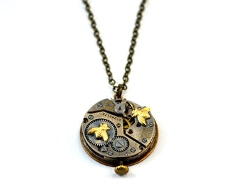 Steampunk Necklace, Bee Necklace, Watch Necklace, Clock Necklace