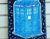 TARDIS- glitter art- 9x12