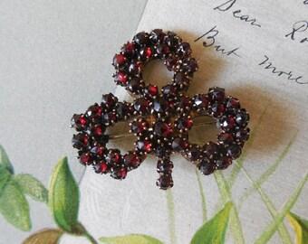 Antique Bohemian Rose Cut Garnet Clover Shaped Brooch    KAE15