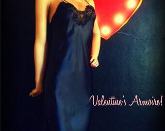 Victoria's Secret- Glamorous Black Satin Nightgown- Medium