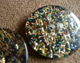 2 Confetti Plastic Buttons..The Life of the Party