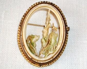 Vintage Art NOUVEAU PIN, Depose France Pierced Celluloid, Deer On Mountains, Enamel Wash w/Brass Frame, Trombone Clasp - SALE!!-