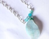 Aquamarine - Tosca Agate Stone Beads with Natural Stone
