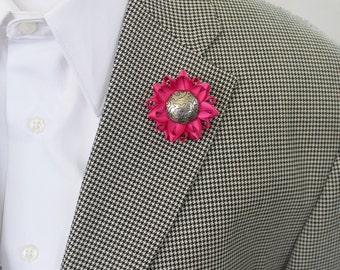 Hot Pink Lapel Flower, Custom Color, Custom Lapel Pin, Mens Flower Lapel Pin, Pink Lapel Pin, Pink Lapel Flower for Men, Lapel Flower Pin