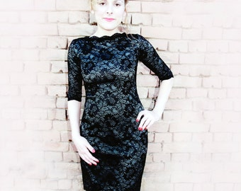 SAMPLE SALE DRESS! Black Lace Dress with Boat Neckline, Little Black Dress