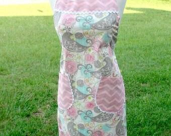 Women's Apron -  Kitchen Apron - Wedding Gift - Shower Gift - Bird Apron