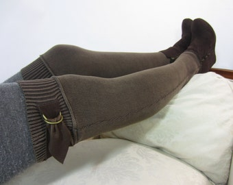 Boot socks Thigh High Socks Over the Knee Leg Warmers Brown Knit Women's Leather Thigh Belt w/ Buckle A1132