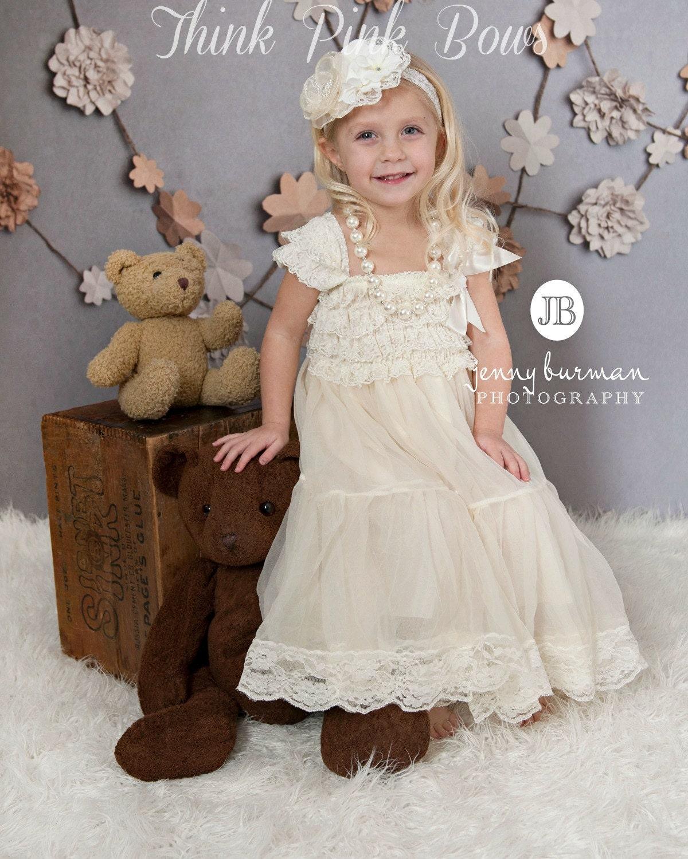 Lace flower girl dress rustic ivory flower girl dress girls