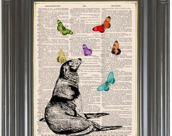 Sea Lion Butterflies print on dictionary or music page Dictionary art print wall decor Sheet music print Digital Nursery print  Item No 725